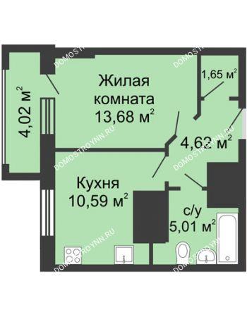 1 комнатная квартира 37,56 м² - ЖК Гелиос