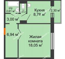 1 комнатная квартира 42,15 м² в ЖК Иннoкeнтьeвcкий, дом № 6