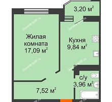 1 комнатная квартира 40,01 м² в ЖК Губернский, дом Литер 29 - планировка