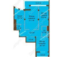 3 комнатная квартира 130,1 м², ЖК Бояр Палас - планировка