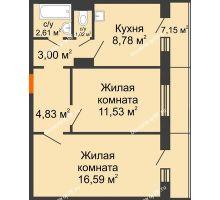 2 комнатная квартира 50,51 м² в ЖК Иннoкeнтьeвcкий, дом № 6