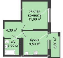 1 комнатная квартира 30,2 м², ЖК Сказка - планировка