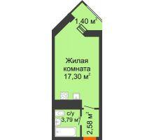 Студия 25,07 м² в ЖК Империал, дом Литер 9 - планировка