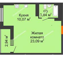 Студия 38,47 м², ЖК Орбита - планировка