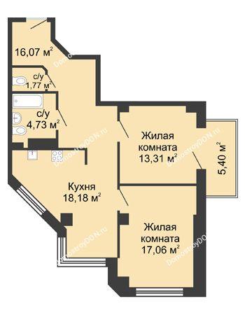 2 комнатная квартира 72,74 м² в ЖК Мега, дом № 2