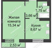 1 комнатная квартира 32,18 м² в ЖК Тридесятое, дом № 23 - планировка