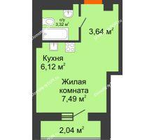 Студия 22,04 м², ЖК Кристалл 2 - планировка