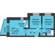3 комнатная квартира 66 м² в ЖК Династия, дом Литер 1 - планировка