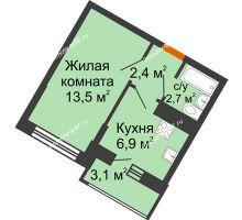 1 комнатная квартира 25,5 м² в ЖК Грани, дом Литер 4 - планировка