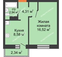 1 комнатная квартира 33,05 м² в ЖК Мончегория, дом № 6 - планировка