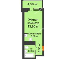 Студия 30,4 м² в ЖК Звездный-2, дом № 3 - планировка