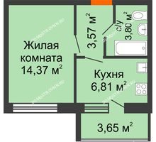 1 комнатная квартира 30,38 м² в ЖК АВИА, дом № 2 - планировка