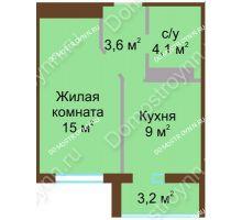1 комнатная квартира 33,2 м² в ЖК ЮГ, дом № 15
