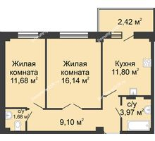 2 комнатная квартира 53,25 м² в ЖК Соловьиная роща, дом № 4 - планировка