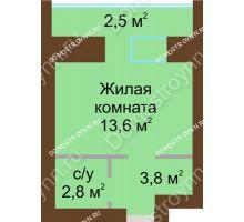 Студия 25,2 м² в ЖК Рубин, дом № 67 - планировка