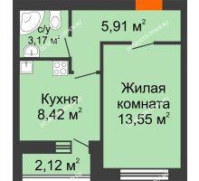 1 комнатная квартира 33,4 м² - ЖК Янтарный