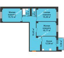 3 комнатная квартира 85,54 м² в ЖК Ясный, дом № 10 - планировка