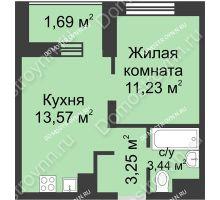 1 комнатная квартира 33,18 м² - ЖК Университетский
