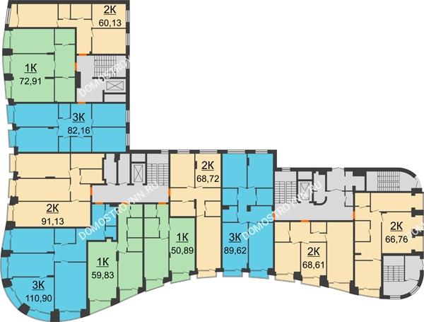 Клубный дом на Ярославской - планировка 1 этажа