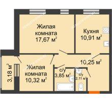 2 комнатная квартира 56,7 м² - Дом на Чаадаева