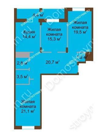 3 комнатная квартира 102,9 м² в ЖК Монолит, дом № 89, корп. 1, 2