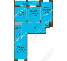 3 комнатная квартира 102,9 м² в ЖК Монолит, дом № 89, корп. 1, 2 - планировка