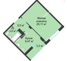 1 комнатная квартира 38,98 м² в ЖК На Вятской, дом № 3 (по генплану)