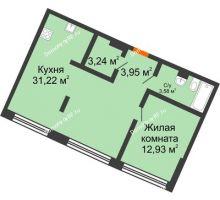 1 комнатная квартира 56,62 м² в ЖК Речной порт, дом № 6 - планировка
