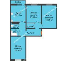 3 комнатная квартира 84,1 м² в ЖК Бурнаковский, дом № 47 - планировка
