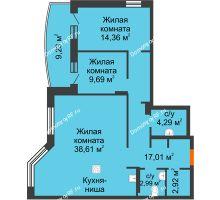3 комнатная квартира 94,5 м² в ЖК Золотое сечение, дом №1, 2 этап - планировка