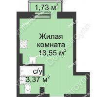Студия 22,44 м² в ЖК Солнечный, дом д. 161 А/1 - планировка