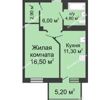 1 комнатная квартира 46,7 м², ЖК Нахичевань - планировка