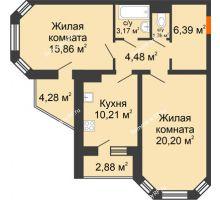 2 комнатная квартира 65,15 м², Жилой дом: №23 в мкр. Победа - планировка