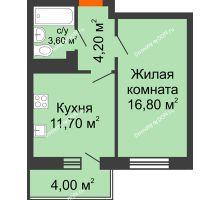1 комнатная квартира 37,9 м² в ЖК Я, дом  Литер 2 - планировка