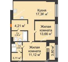 2 комнатная квартира 66,64 м² в ЖК Речной порт, дом № 6 - планировка
