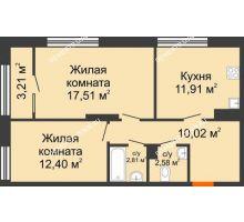 2 комнатная квартира 58,84 м² в ЖК Маленькая страна, дом № 4 - планировка