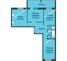 3 комнатная квартира 69,6 м² в ЖК Удачный 2, дом № 1 - планировка
