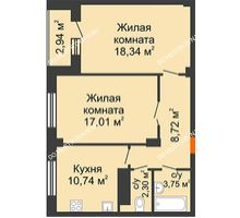 2 комнатная квартира 62,37 м² в ЖК Облака, дом № 2 - планировка