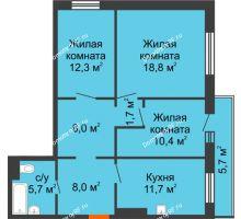 3 комнатная квартира 78,3 м² в ЖК Светлогорский переулок, дом № 1, строение 1 - планировка