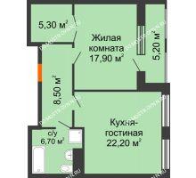 1 комнатная квартира 63,75 м² в ЖК Георгиевский, дом 2а - планировка