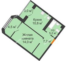 1 комнатная квартира 42,6 м² - ЖК Симфония Нижнего