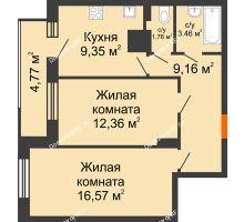 2 комнатная квартира 57,43 м² в ЖК Виктория, дом № 52 - планировка