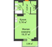 Студия 37,2 м² в ЖК Сокол на Оганова, дом Литер 6 - планировка