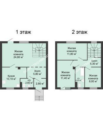4 комнатная квартира 87 м² в КП Ждановский, дом № 8