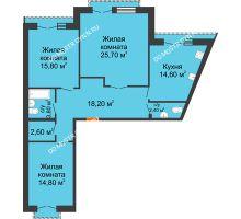 3 комнатная квартира 97,9 м², Жилой дом: г. Дзержинск, ул. Кирова, д.12 - планировка