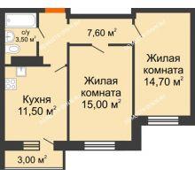 2 комнатная квартира 52,3 м² в ЖК Торпедо, дом № 1
