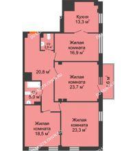 4 комнатная квартира 125,9 м² в ЖК Премиум, дом № 2 - планировка