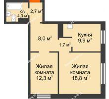 2 комнатная квартира 57,7 м² в ЖК Лесной массив, дом Строение 9 - планировка