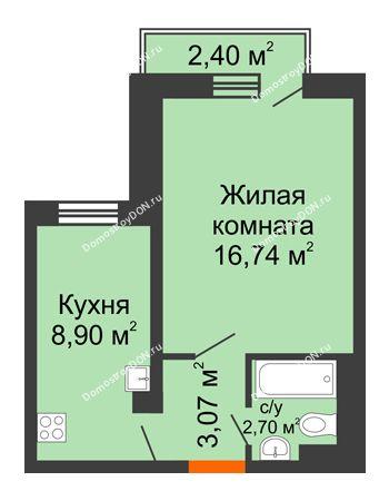 1 комнатная квартира 31,73 м² в ЖК Мечников, дом ул. Мечникова, 37