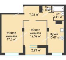 2 комнатная квартира 55,54 м² в ЖК На Вятской, дом № 3 (по генплану)